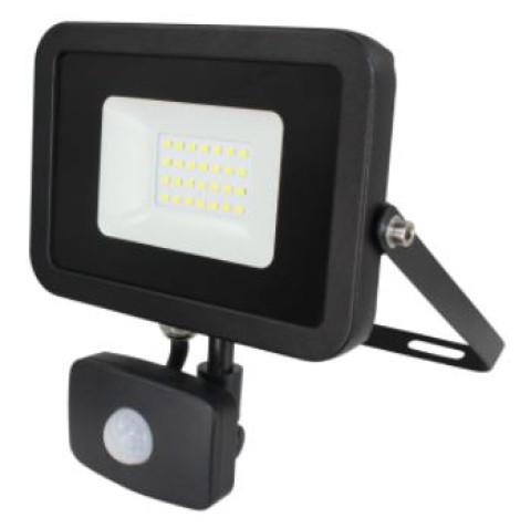 Prožektors LED 10W IP44  900Lm 4000K ar sensoru, melns