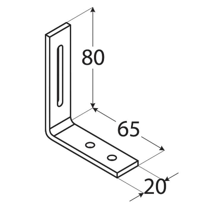 Leņķis 60x80x20x3.0mm, regulējams