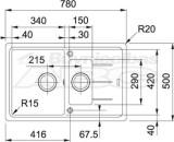 Granīta izlietne BFG 651-78 CA  78x50cm Franke  114.0301.951