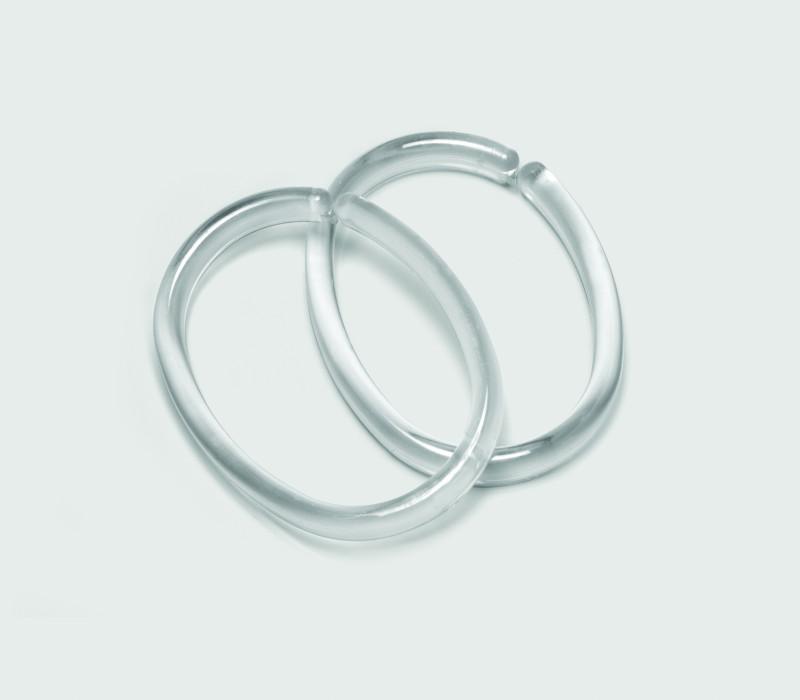 CLIPS shower curtain rings, transparent,bag 12 pcs.