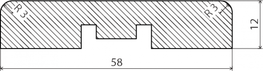 Noseglīste/aploda 12x58x2200mm  UK12/58MDF22V balta