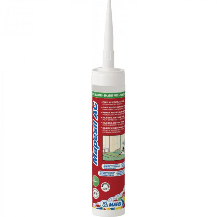 Mapei MAPESIL AC-139 310ml Solvent-free, acetic-crosslinking mildew-resistant silicone sealant with low modulus of elasticity PINK POWDER