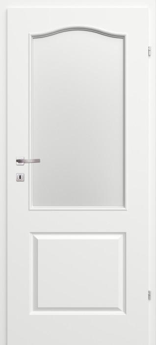 Iekšdurvju komplekts lakots (vērtne + kārba) Morano Mod 2.8, white ar stiklu 7x21 kreisās CLASSEN