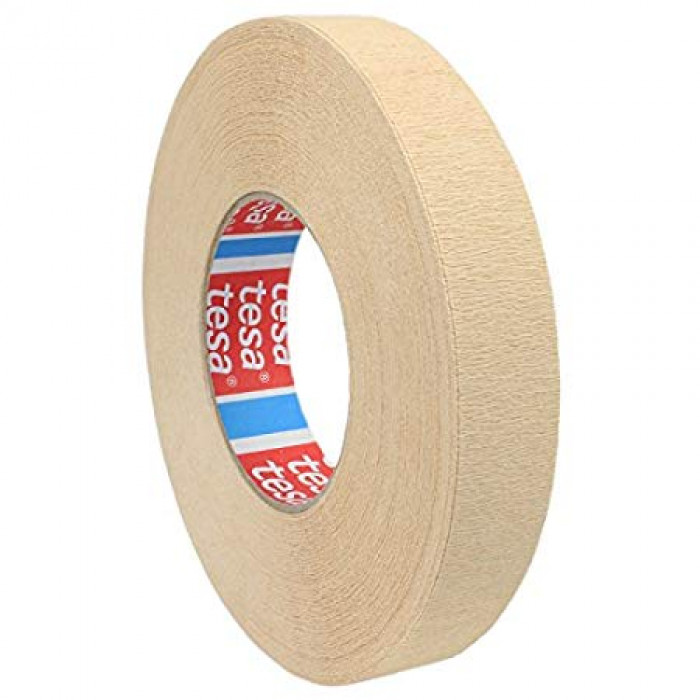 tesa® 4319 is a highly crêped, general purpose paper masking tape for various application fields 25mx19mm beige
