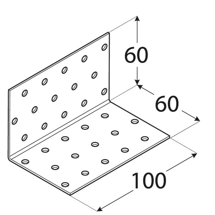Stūra leņķis  60x60x100x2.0 mm