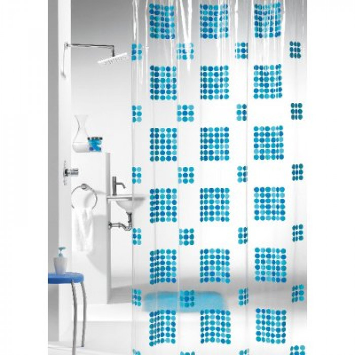 HAPPY shower curtain vinyl, blue, 180x200cm