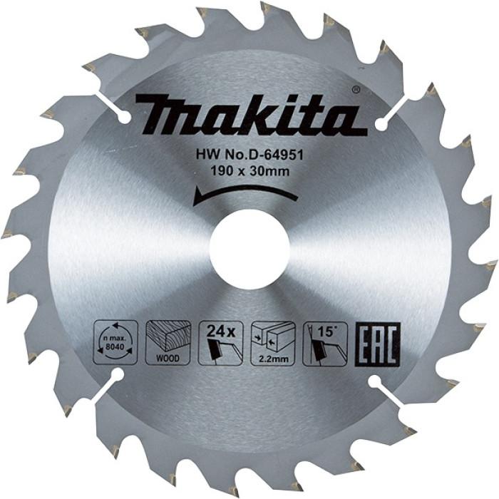 Zāģripa 190x30*2.2mm T24 15° Makita D-64951