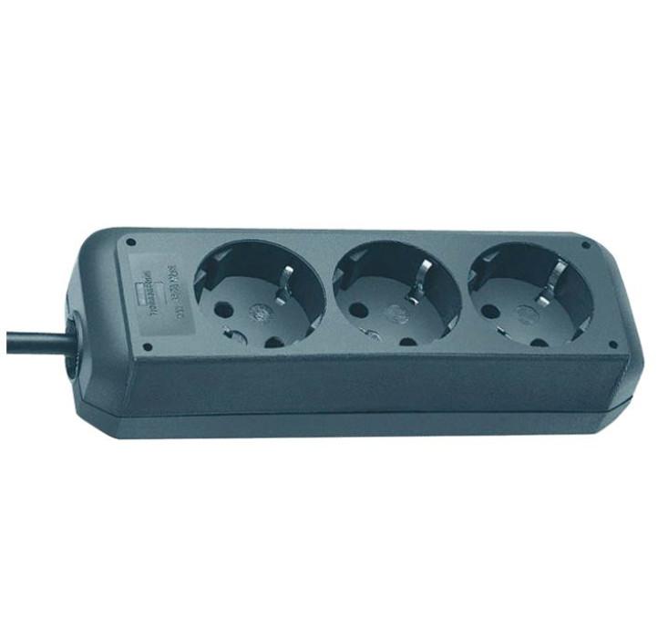 Eco-Line extension socket 3-way black 1,5m H05VV-F 3G1,5