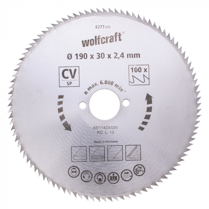 Wolfcraft zāģripa 210mm 100 zobi, 30 mm 6281000