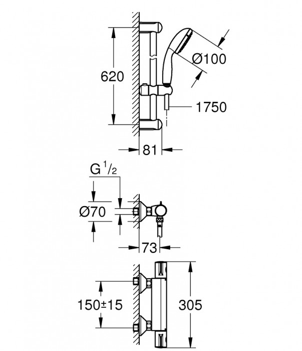 Grohe Groheterm 800 termost.  dušai+dušas kompl.600 mm  34565001