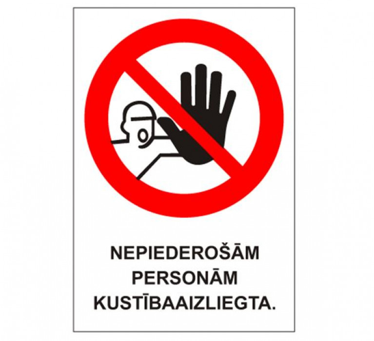 Sticker ''No unauthorized entry'' 15x22cm