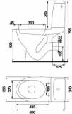 Cersanit WC EKO 2000 izvads sienā,sānu pievienojums ,DUO ūdens nolaišana, cietais vāks K07-102-EX1