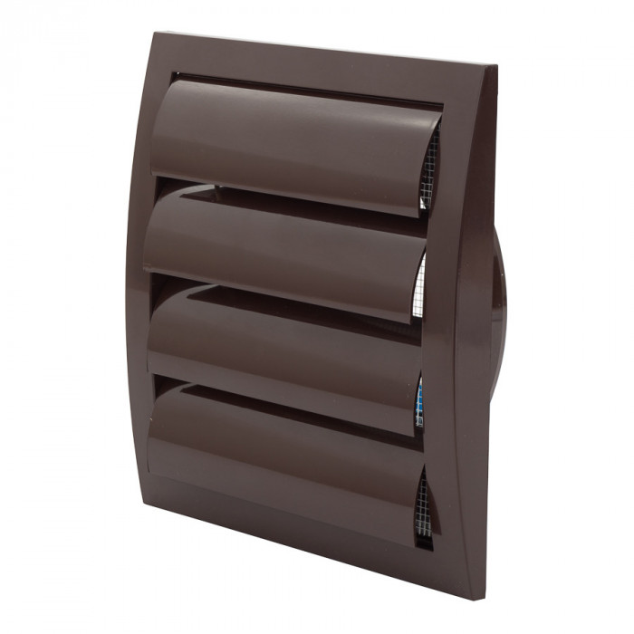 ventilationgrilleplastic,190x190mm,Ø125mm,withshutter,brown