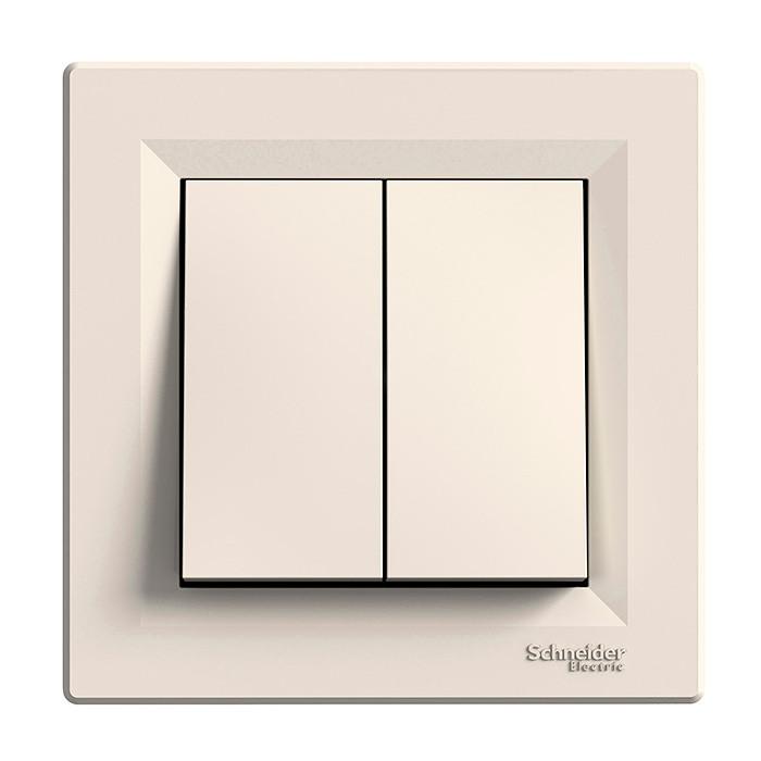 Asfora - 1pole 2-circuits switch -10AX lift terminals, cream