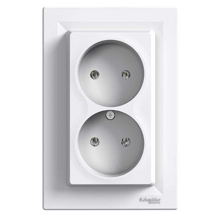 Asfora - double socket outlet without earth - 16A white