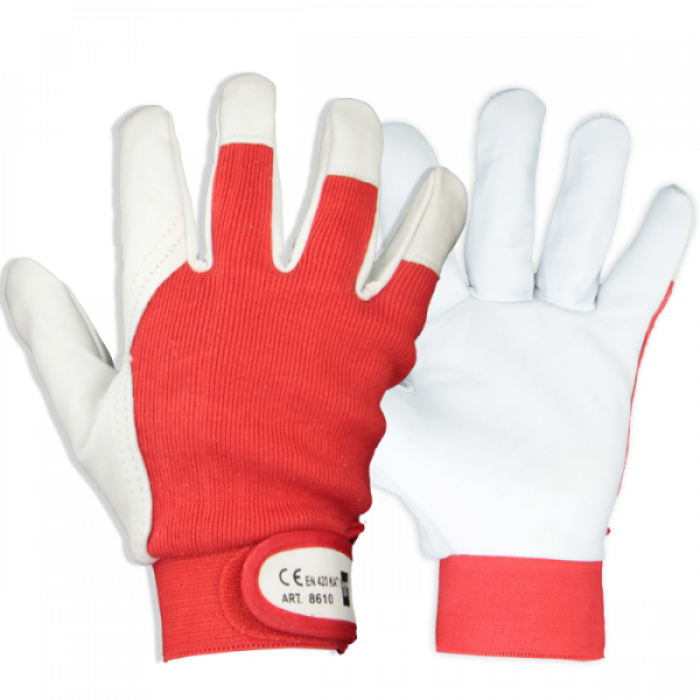 Grain goat leather glove, polyester back, Velcro binding cuff, red/white, size 8