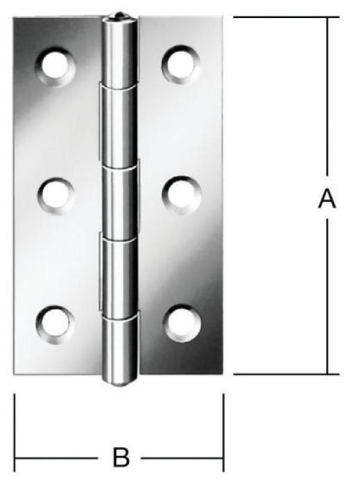 Narrow hinges 80x41mm Steel / ZN