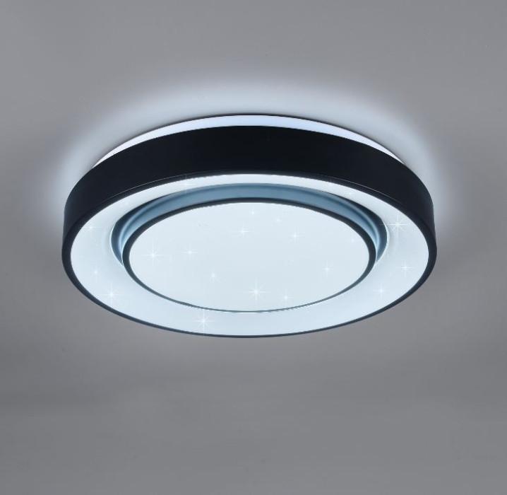 Griestu lampa TRIO Mona LED 20W 2400Lm 3000-6000K RGB D41cm melna WIZ R65041032
