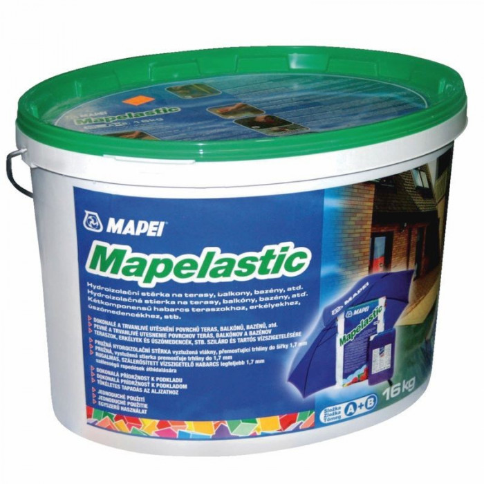 Mapei MAPELASTIC A+B 16kg Two-component cementitious mortar, flexible down to -20°C, for waterproofing balconies, terraces, bathrooms and swimming pools