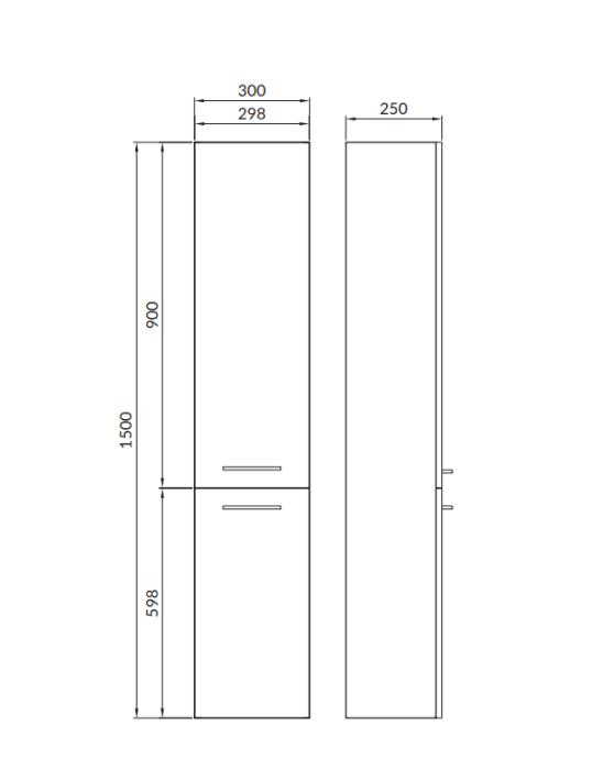 Cersanit skapis-penālis LARA  150x30cm WHITE balts  S926-007-DSM