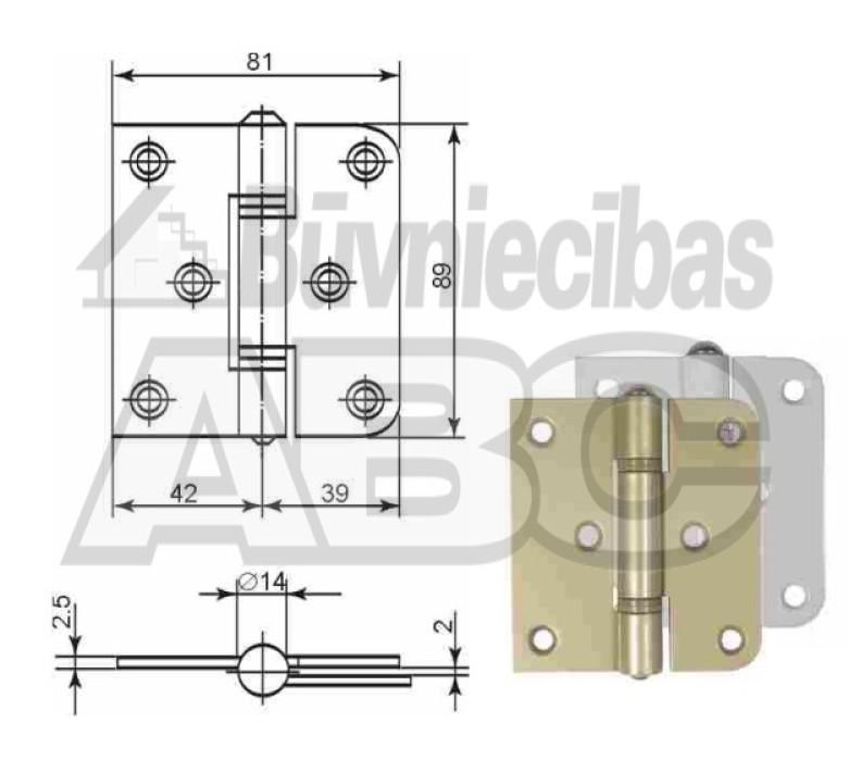 Hinge Kurzemes Atslēga, universal, brass