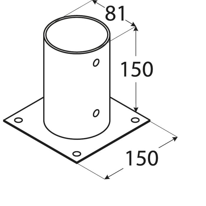 Staba pamatne apaļa  81x150x2 mm