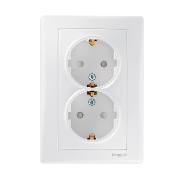 Sedna - double socket-outlet with side earth - 16A shutters, white