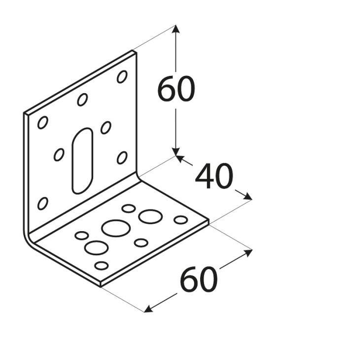 Leņķis 40x60x60x2.5mm, regulējams