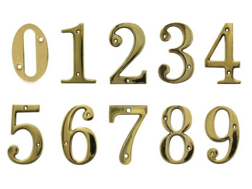 Durvju numuriņš 4, misiņš, 35mm x 50 mm x 1,5 mm