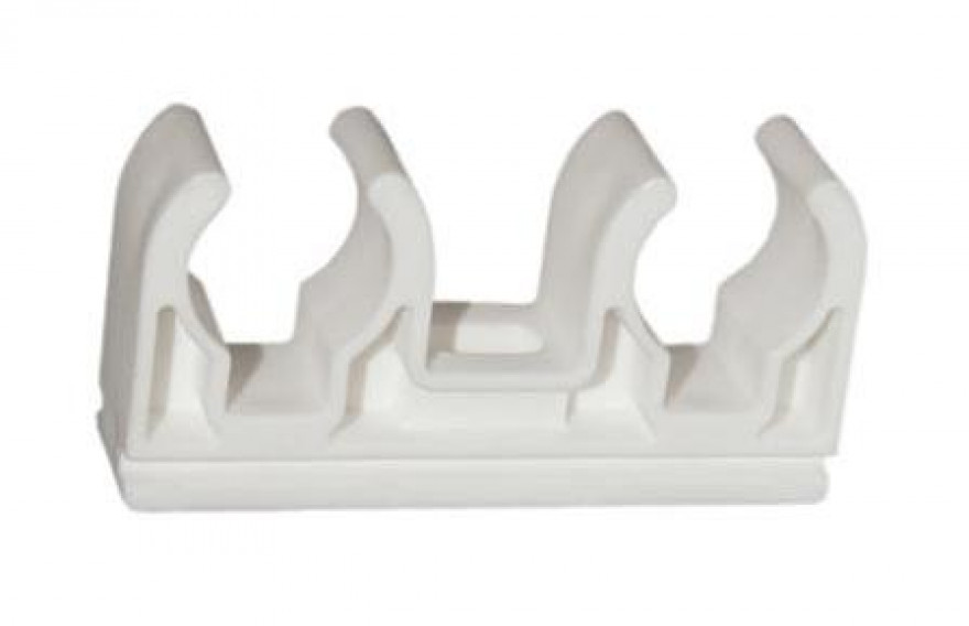 Pipe holder ( White,Double Clip) 18mm,  10 pieces in pack