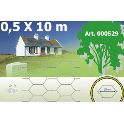 Hexanet Zn 0.50x10m (ace  25x25x0.7mm) žogs 000529