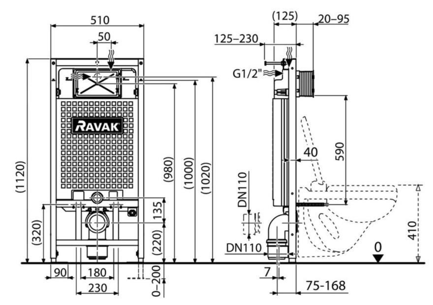 Ravak WC iebūvējamais G/1120 mehānisms X01703, taustiņš nav komplektā