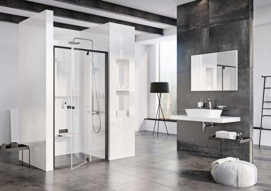 Ravak dušas durvis Pivot PDOP2-120 black+Transparent