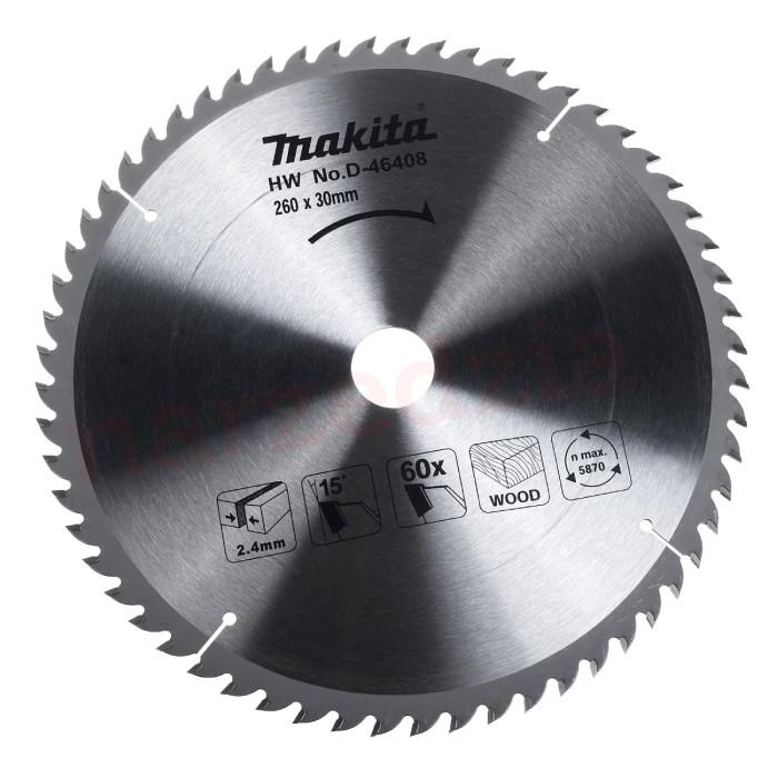 Makita D-46408 TCT Saw Blade - 260 x 30mm 60T