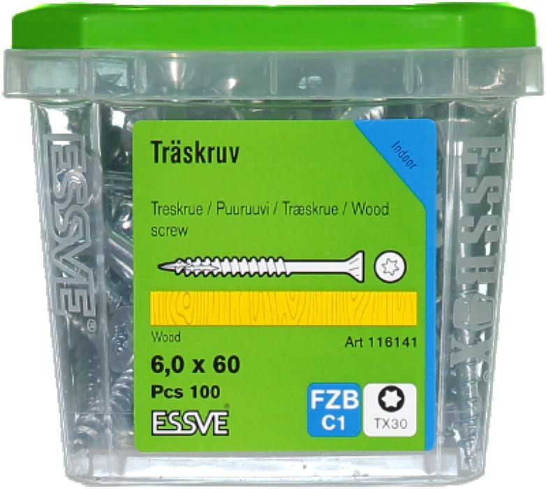Skrūve kokam ESSDRIVE 6.0X60mm Zn 100gab/iep., ESSVE 136141