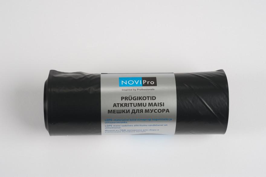 NOVIPro Atkritumu maisi 200l  10gb/rullī melni