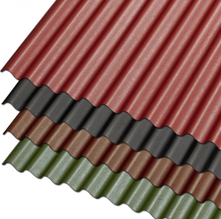 Guttanit K-11 76/30x830x2000mm bituminous corrugated sheet, red