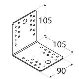 Stūra leņķis  105x105x90x2.5 mm