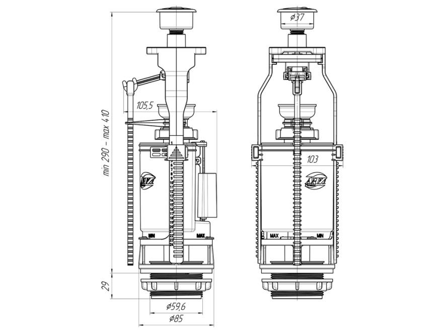 WC noplūdes mehānisms  Sanit N944 3/6L