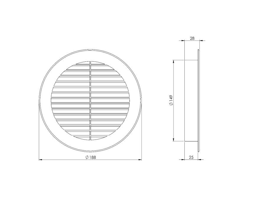 ventilationgrilleplastic,Ø150mm