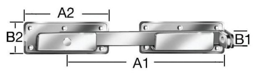 Double gate hasps 340x180x70x30mm Steel/zn