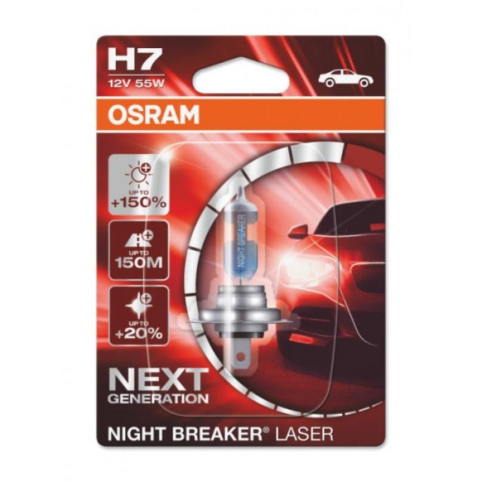AUTO SPULDZE OSRAM 55W 12V  H7  Night breaker laser 1gb blister