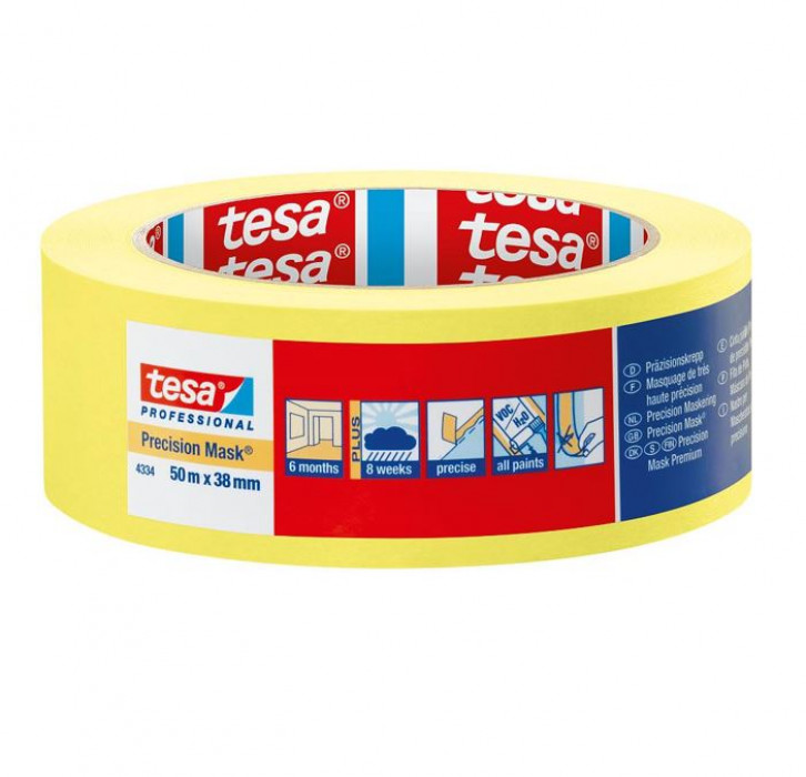 tesa 04334 Precision Mask INDOOR 50mx19mm High grade paper masking tape for precise and flat paint edges