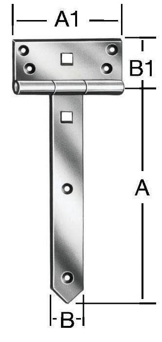 T-hinges 400x33mm Steel/ZN