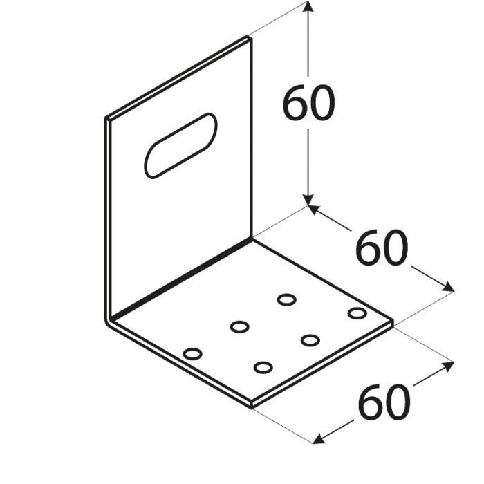 Leņķis 60x60x60x2.0mm, montāžas regulējams