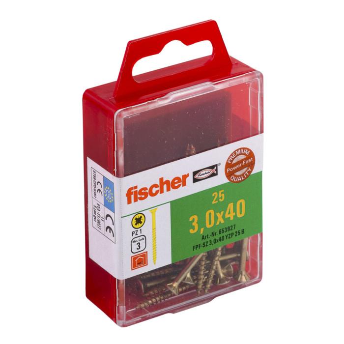FISCHER Шурупы по дереву FPF-SZ 3.0x40 YZ 25шт / упак. 653927