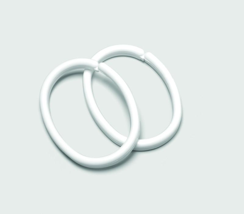 CLIPS shower curtain rings, white,bag 12 pcs.