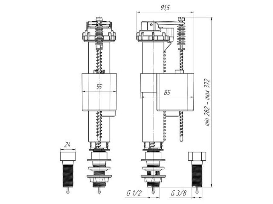 """WC ieplūdes mehānisms 3/8""""  apakšas BAS26EL"""