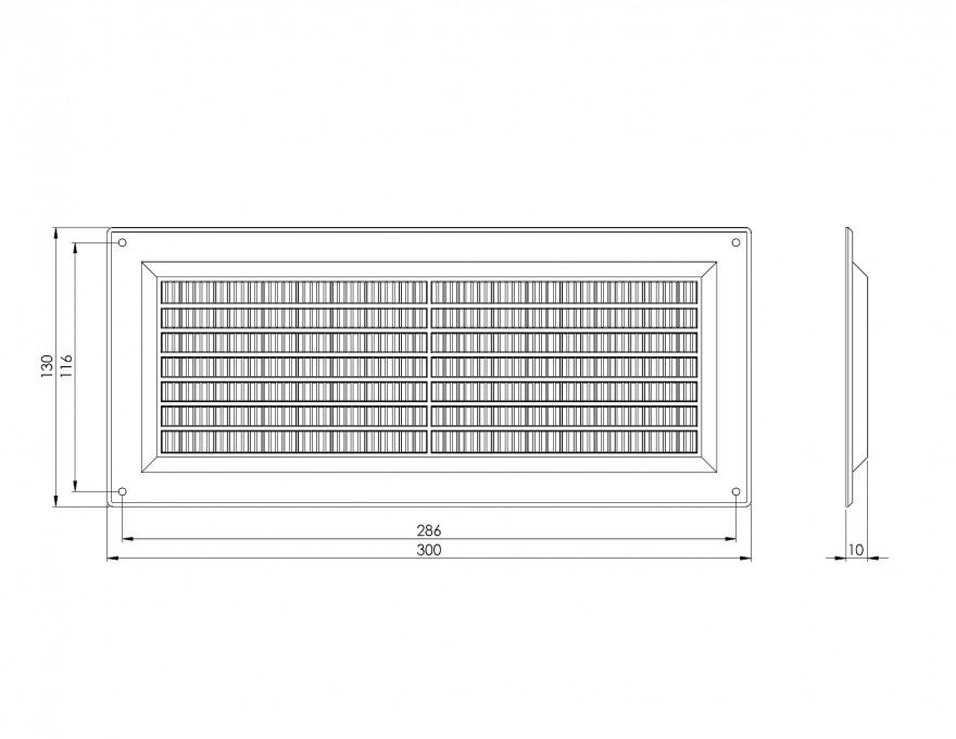 ventilationgrilleplastic,130x300mm,brown