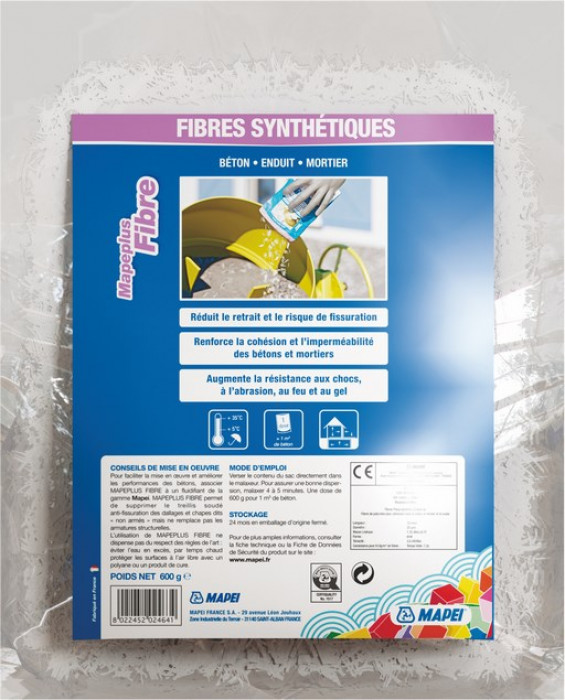 Mapei PP-FIBRE M6 1kg monofilament polypropylene fibre with optimal mechanical, physical and chemical properties for use in concrete and mortar.